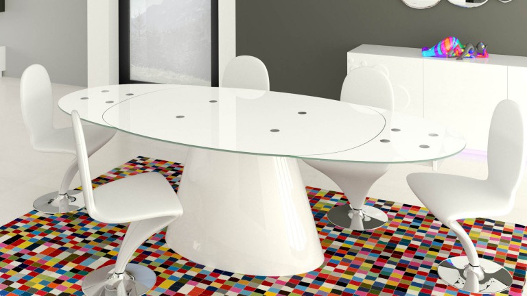 Table salle a manger ovale design valdiz for Table salle a manger 3 rallonges