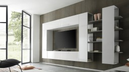 Grand mur TV Teelyn laqué blanc modulable - Mobilier Moss