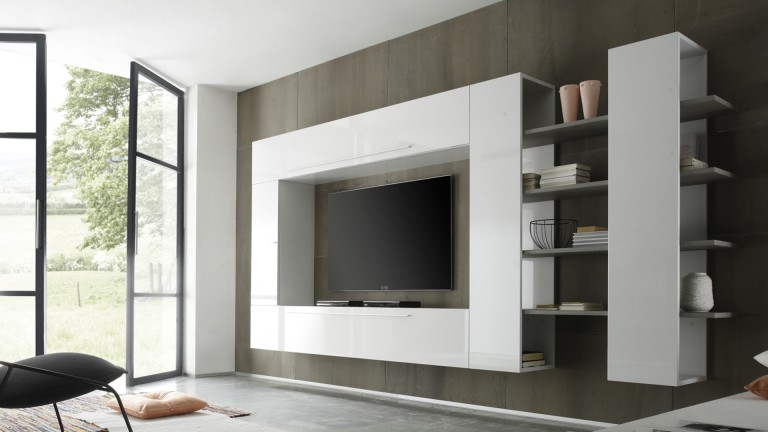 grand mur tv teelyn laqu blanc modulable mobilier moss. Black Bedroom Furniture Sets. Home Design Ideas