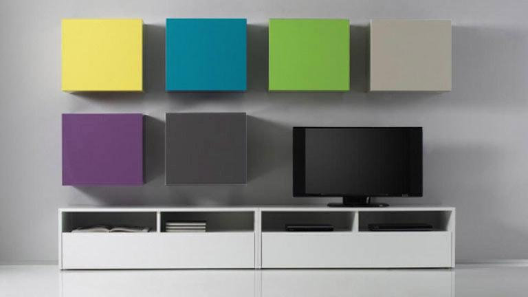 Meuble Tv Mural Petit : Petits Elements Suspendus Ox Color Tv Mobilier Moss