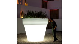 Pot polyethylene 200 cm blanc lumineux led maceta mobiliermoss