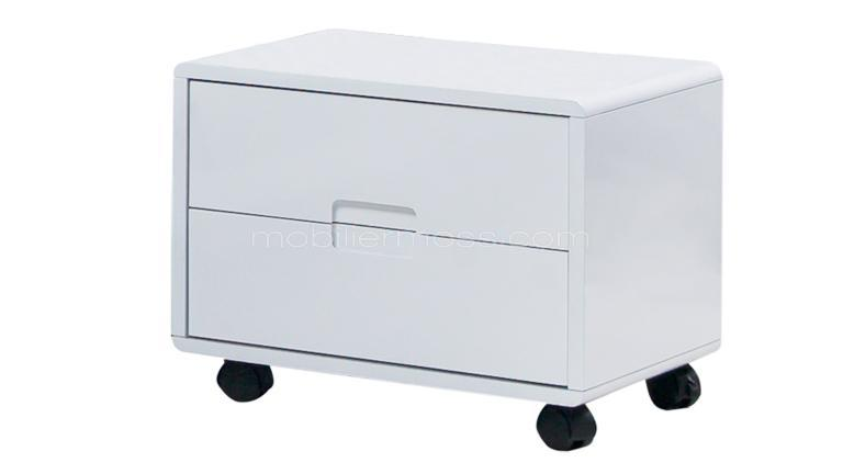 Chevet design prady commode ou chevet en cuir au design contemporain mobi - Table de chevet cuir blanc ...