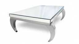 table basse miroir chrome rectangle