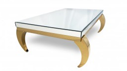 table basse miroir doree rectangle