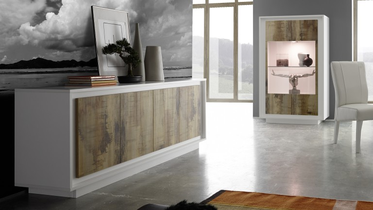 composez votre salle manger solna blanc mat et bois pero mobilier moss. Black Bedroom Furniture Sets. Home Design Ideas