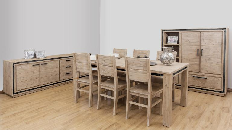 salle a manger bois massif acacia style industriel amylton mobiliermoss