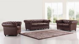 Salon chesterfield vintage aspect cuir vieilli 3+2+1 - Liverpool