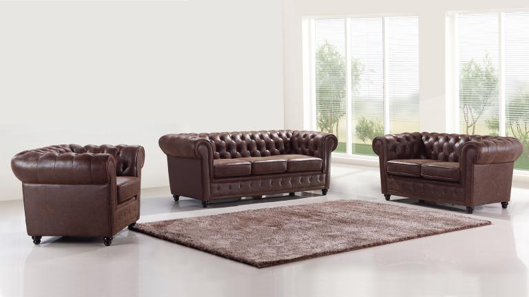 salon complet style chesterfield liverpool imitation cuir mobilier moss. Black Bedroom Furniture Sets. Home Design Ideas
