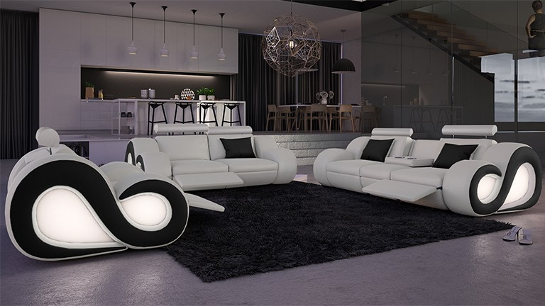 Salon cuir nesta avec canap 3 places 2 places for Salon design noir et blanc