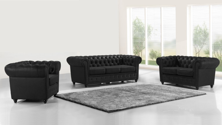 Salon complet en cuir style chesterfield liverpool for Canape noir cuir
