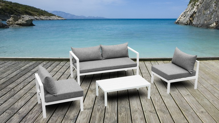 Salon De Jardin Aluminium Amapa Canape 2 Places 2 Fauteuils Table