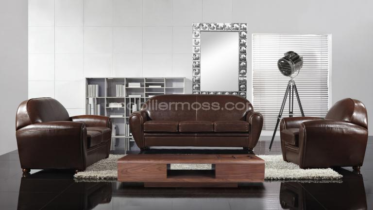 Decoration Salon Cuir Marron Maison Design Bahbecom - Fauteuil cuir marron design