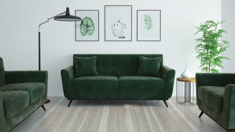 Salon scandinave stockolm velours vert GN001 mobiliermoss