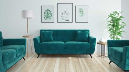 Salon scandinave stockolm velours bleucanard 74A mobiliermoss