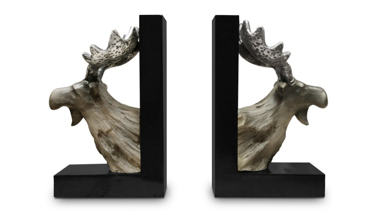 cale livres bookend t te de renne pour biblioth que mobilier moss. Black Bedroom Furniture Sets. Home Design Ideas