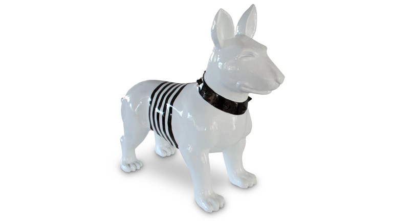 statue chien design bullterrier avec rayures noires mobilier moss. Black Bedroom Furniture Sets. Home Design Ideas