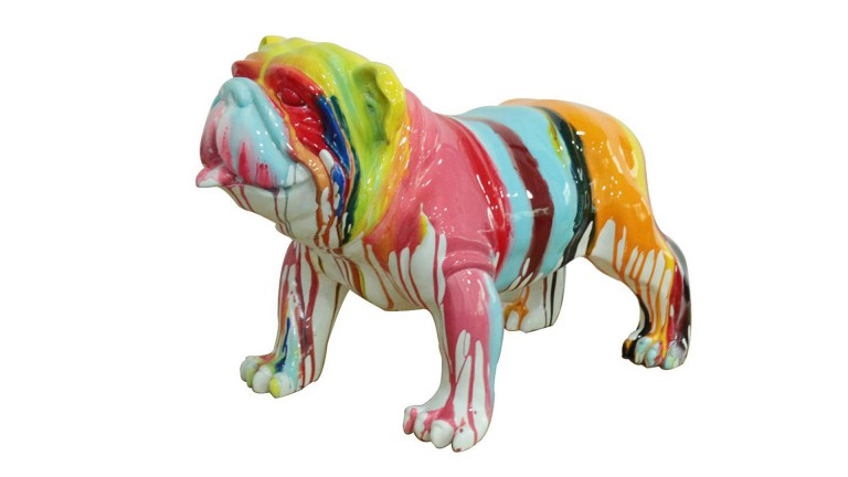 Statue de chien bouldog design multicolore mobilier moss - Grande statue decoration interieur ...