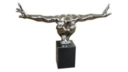statue homme plongeur metal chrome jary mobiliermoss
