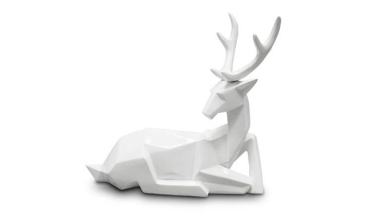 statue laque blanc cerf couche origami cerfy4 mobiliermoss