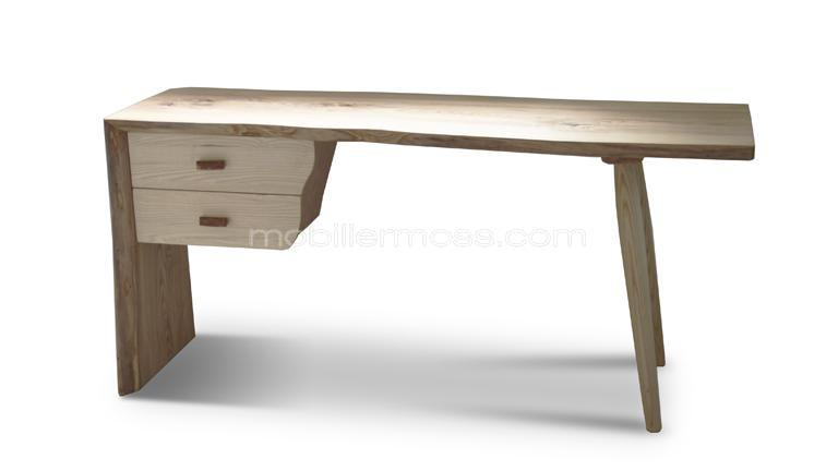 Bureau en bois massif style scandinave steppe mobilier for Grand bureau meuble