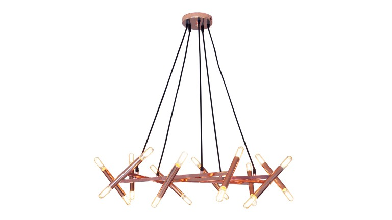 Suspension contemporaine hary coloris cuivre avec ampoules for Lustre ou suspension