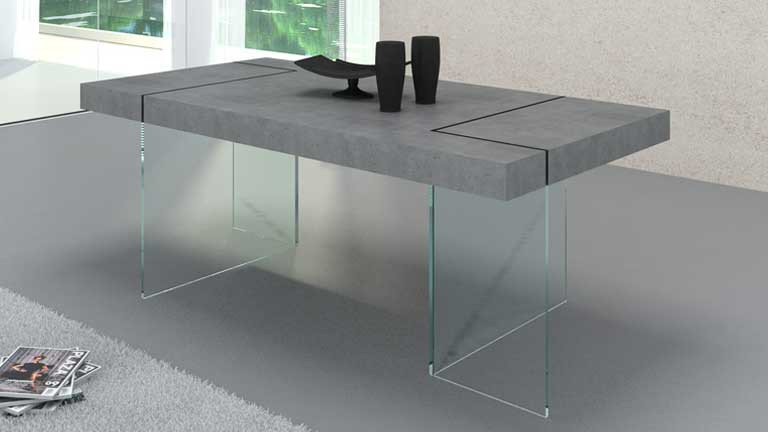 table rectangulaire effet b ton avec pied en verre crystalline mobilier moss. Black Bedroom Furniture Sets. Home Design Ideas