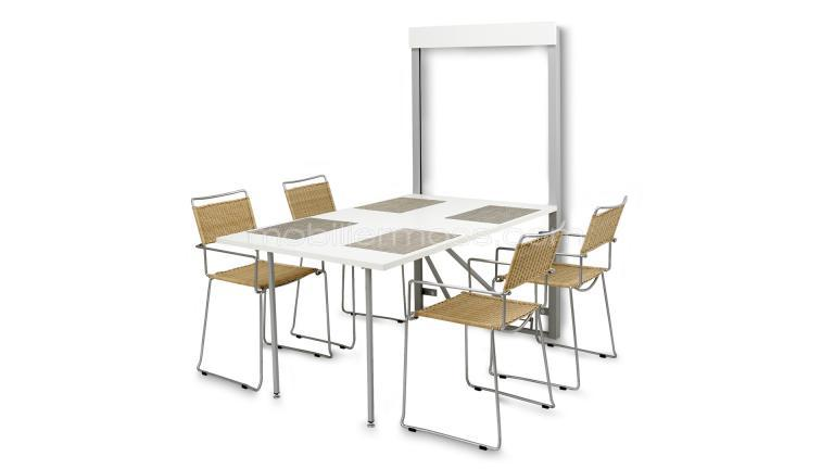 Table pliable id ale pour le gain de place woody for Table de cuisine murale pliable