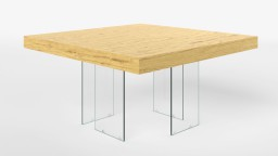 table a manger carree pieds verre chene clair crystalline mobiliermoss