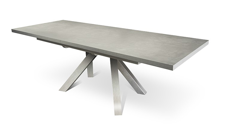 table effet b ton et pied inox avec rallonges roma mobilier moss. Black Bedroom Furniture Sets. Home Design Ideas