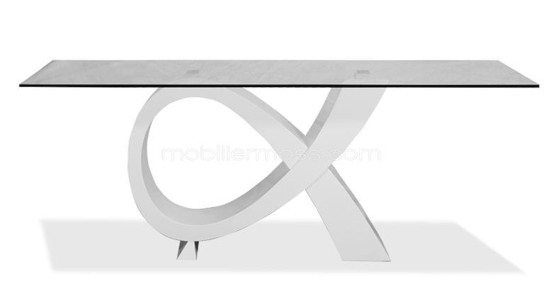 table alpha atract en verre design laque blanc