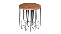 table appoint ronde pied metal noir polateau bois arendal 2 mobiliermoss