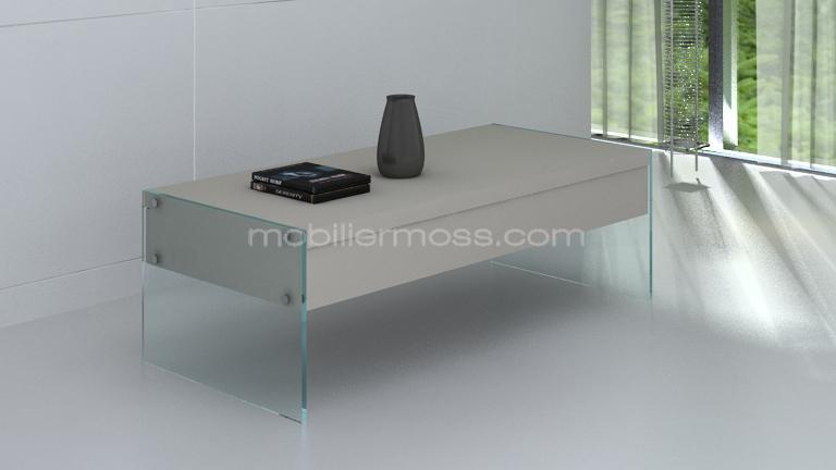 table basse 2 tiroir contemporain verre mobiliermoss taupe mat