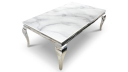 Table basse baroque plateau marbre blanc pietement chrome betty mobiliermoss