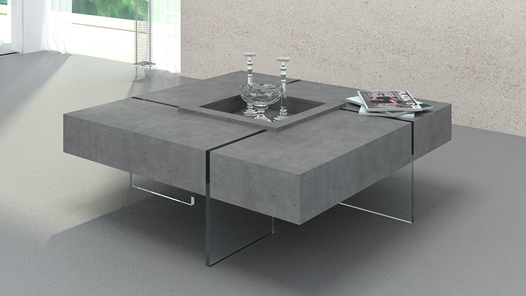 table basse carr e avec pieds en verre design crystalline beton mobilier moss. Black Bedroom Furniture Sets. Home Design Ideas