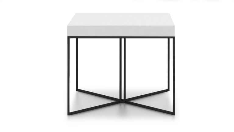 table basse hauteur 50 cm kufstein blanc pied m tal noir mobilier moss. Black Bedroom Furniture Sets. Home Design Ideas