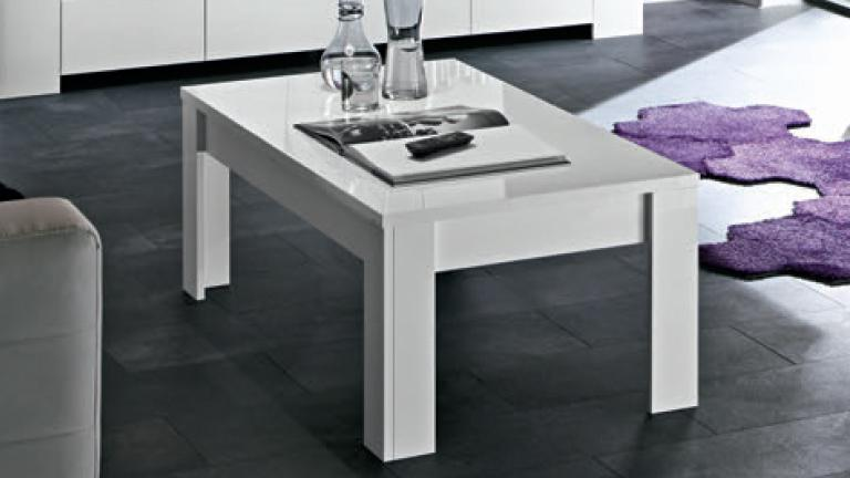 Table basse moderne laquée blanc Magao - Mobilier Moss