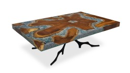 table basse bois resine epoxy forme rectangulaire bleu mobilier moss