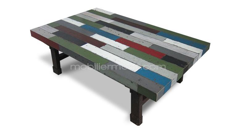 Table basse brasilia en bois multicolore mobilier moss - Table basse de couleur ...