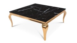 table basse carr e dor e plateau marbre noir mobilier moss betty