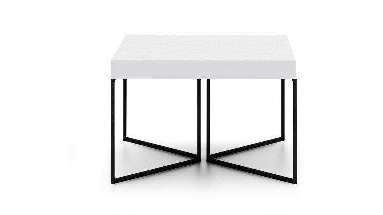 table basse hauteur 40 cm kufstein blanc pied m tal noir mobilier moss. Black Bedroom Furniture Sets. Home Design Ideas