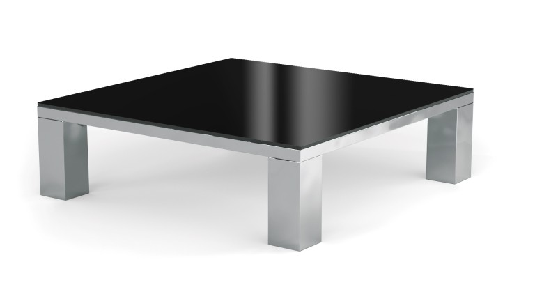 Table basse de salon glassy en verre teint mobilier moss - Table de salon noire ...