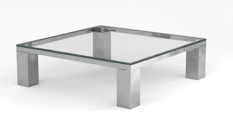 table basse carree 110cm pieds metal plateau verre transparent glassy mobiliermoss