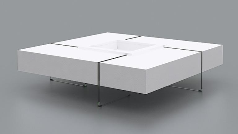 table basse carr e avec pieds en verre design crystalline mobilier moss. Black Bedroom Furniture Sets. Home Design Ideas