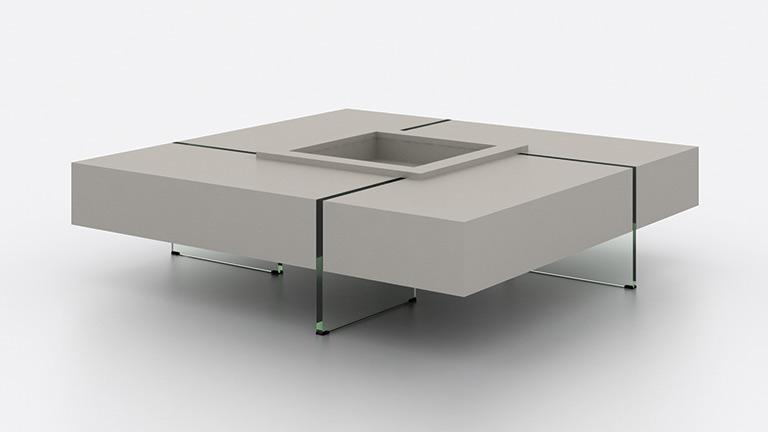 Table basse carr e avec pieds en verre design crystalline for Table de salon carre