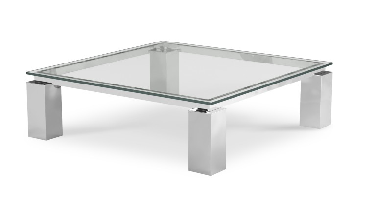 Table basse de salon en verre transparent arklow - Table basse carree verre ...