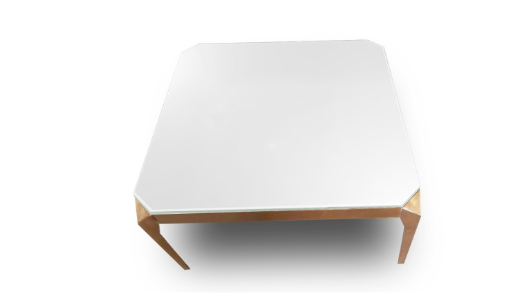 table basse carree verre trempe blanc pied cuivre dixies