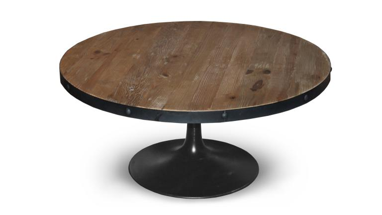 Table basse ronde cogolin de style industriel mobilier moss for Table ronde bois et metal