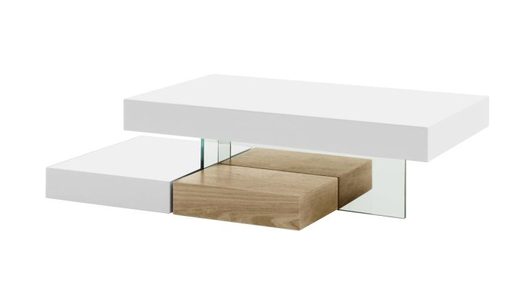 Table basse design blanc mat friendly mobilier moss - Table basse blanc et bois ...