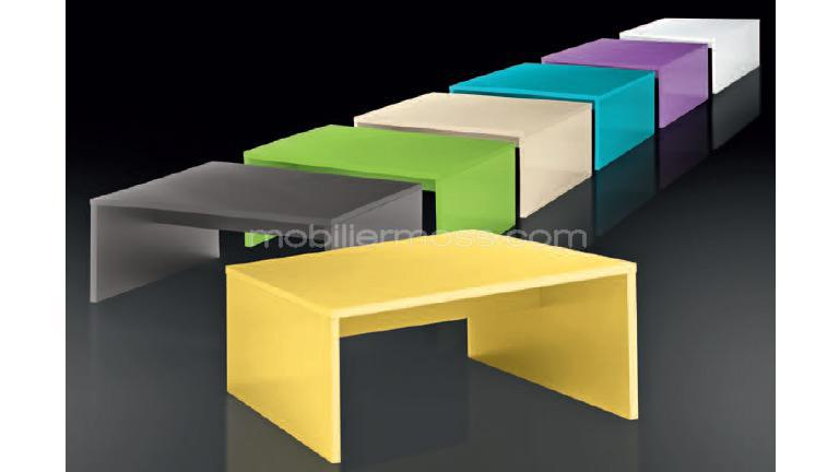 Table Basse Laquee Jaune