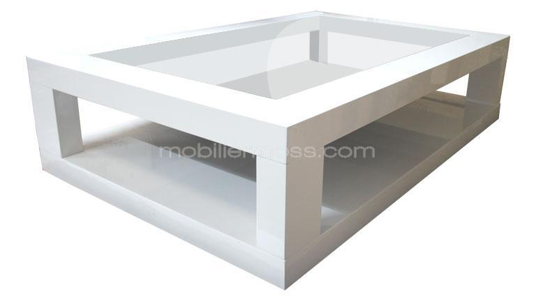 table basse laquee silestone blanche verre transparent